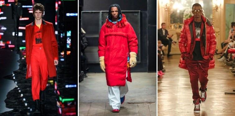 Modelos usando casacos vermelhos