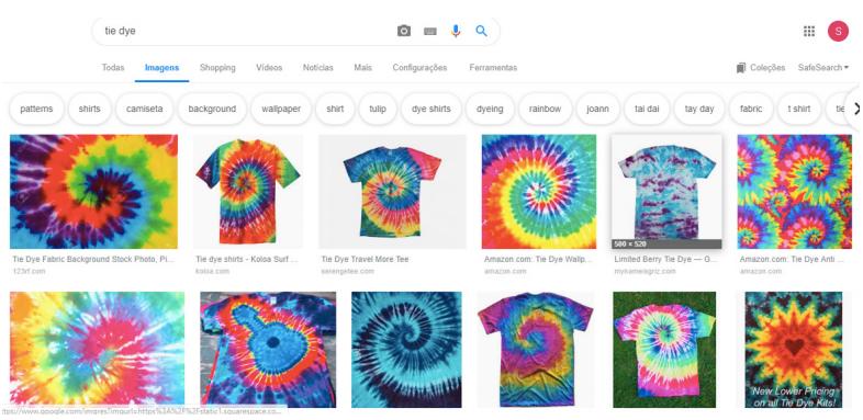captura de tela pesquisa tie dye no google