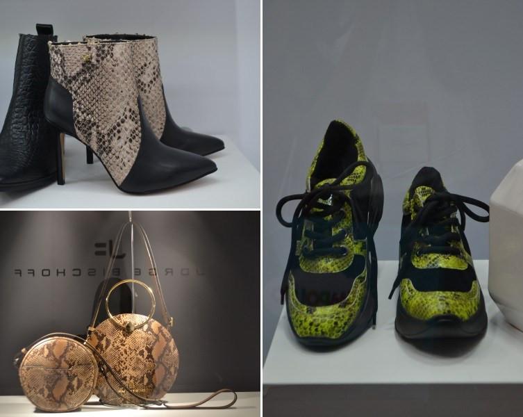 Sapatos e bolsas expostos na Couromoda
