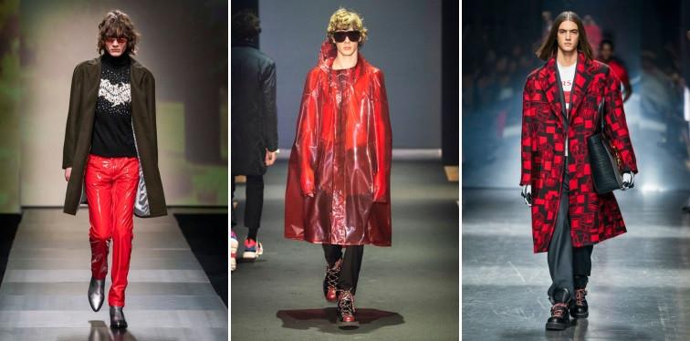 Modelos usando peças de roupa vermelhas
