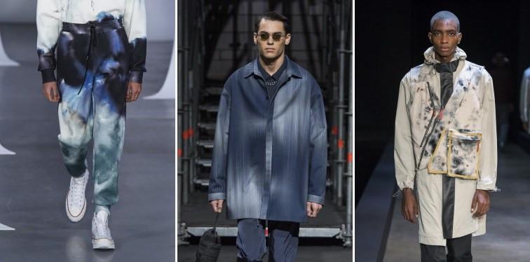 Modelos usando peças de roupa com manchas futuristas