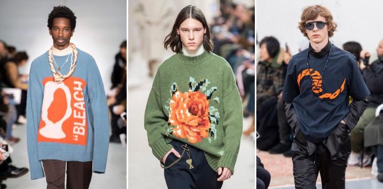 Modeos usando suéters com detalhes em laranja