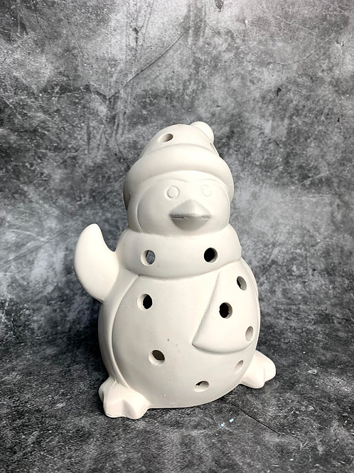 penguin tealight with hat and scarf
