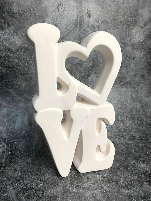 layered love word plaque