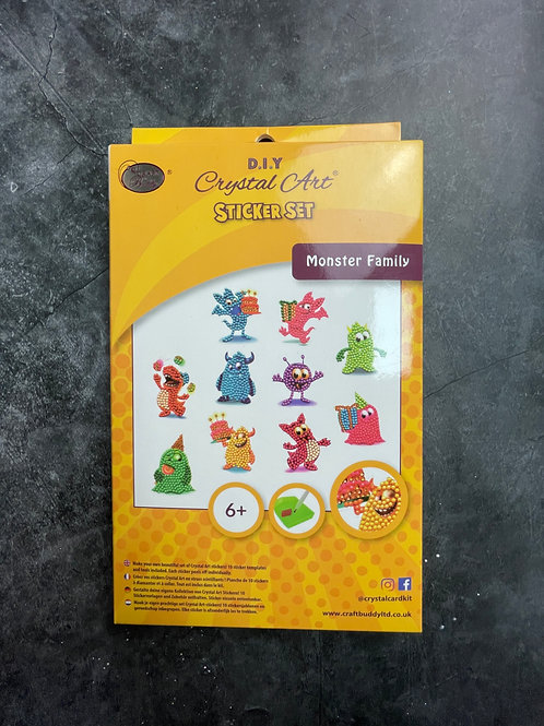 monster family crystal art stickers