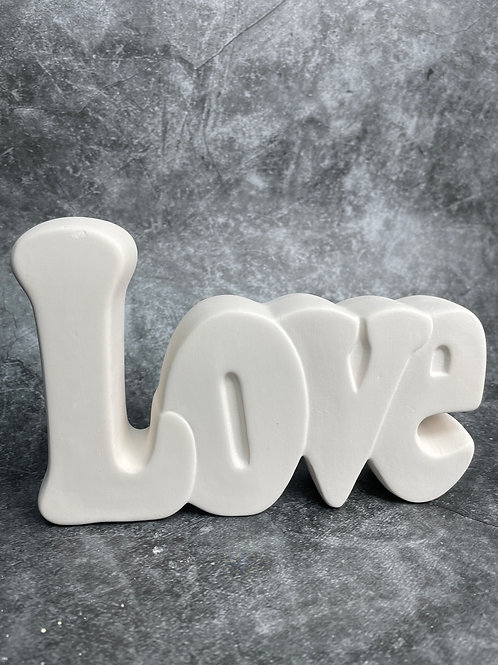 straight love word plaque