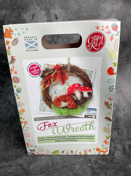 fox wreath needle felting kit