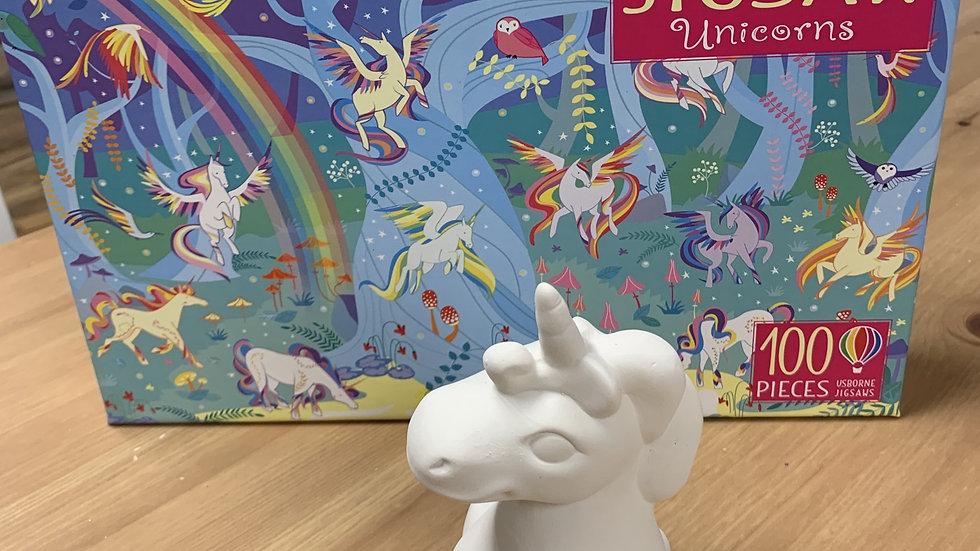 Unicorn Book, Jigsaw and Pottery Take Home Kit