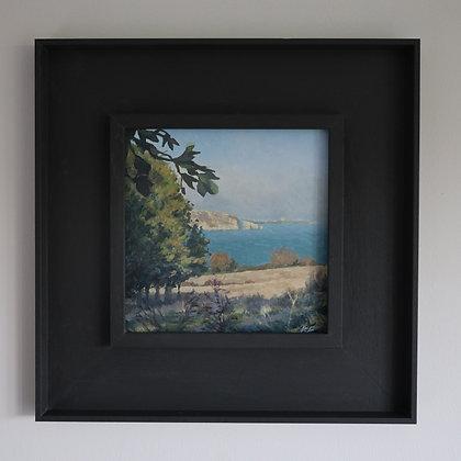 'Autumn Sun over Old Harry Rock'    20cm x 20cm Oil on Gesso Board (Framed)