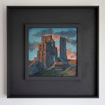 'Corfe Castle in Blue'  Corfe Castle | 20cm x 20cm Oil on Linen Board
