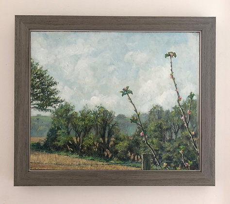 'Spring view at West Acre' part 2 | 35cm x 29cm Oil on Gesso Board (Framed)