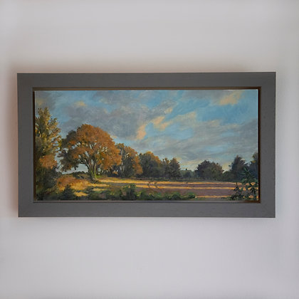 'View over West Acre'   30cm x 15cm Oil on Cradled Gesso Board