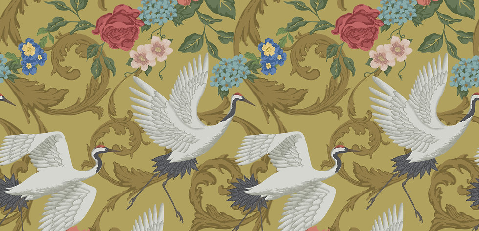 Beautiful large cranes taking flight on a background of swirls and flower.  Colour is a muted yellow
