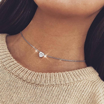 Crystal Heart Pendant Short Chain Necklace