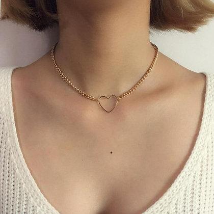 Hollow Heart Choker Necklace