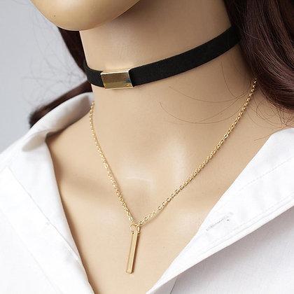 Black Velvet Choker Necklace Strip rope Chain Bar