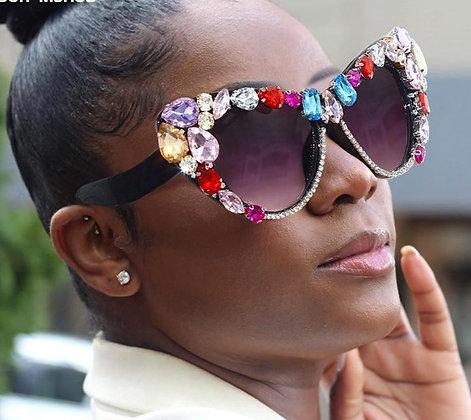 Cat Eye Oversized Steampunk Rhinestone Sunglasses