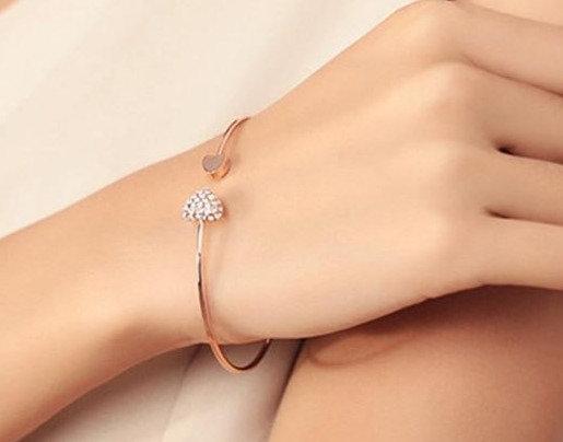 Crystal Double Heart Cuff Opening Bracelet