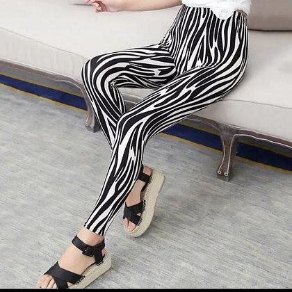 Black White Striped Elastic Leggings