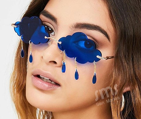 Blue Rimless Vintage Clouds Tassel Sunglasses