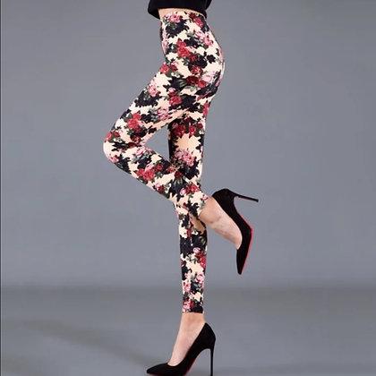 Khaki Chinese Flower Leggings