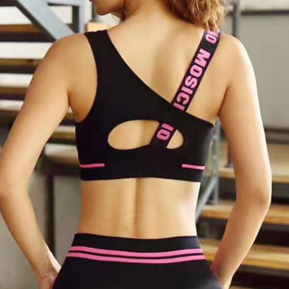 Letter Cut Out Sports Fitness Yoga Push up Bra