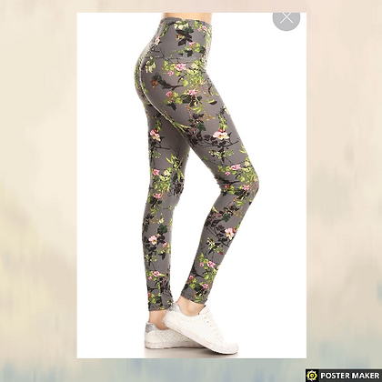 Yoga style banded lined floral Leggings