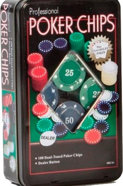 Fichero Poker 100 Fichas En Lata Numeradas + Dealer