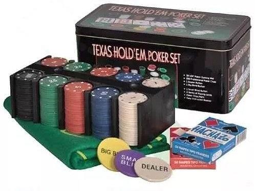 Set De Poker 200 Fichas + Cartas + Paño