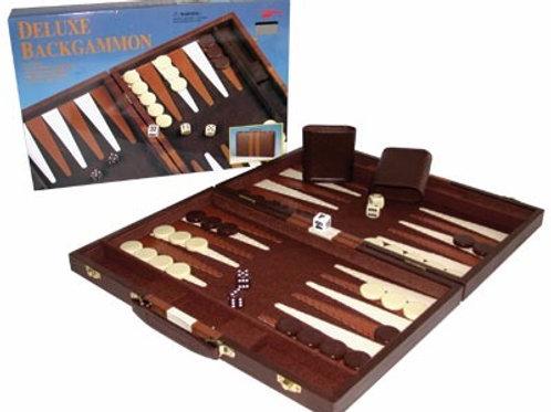Backgammon Deluxe Grande Maletin De Cuero Ecologico Valija