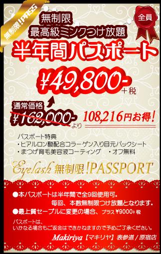 半年間で9回、本数無制限つけ放題コース通い放題!通常価格より10万円以上お得な¥49800!