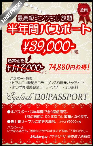 半年間で9回、120本までつけ放題コース通い放題!通常価格より7万円以上お得な¥39000!