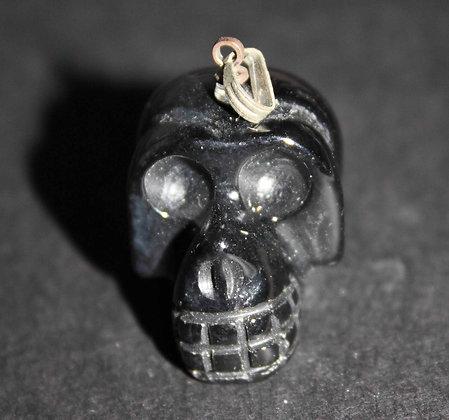 Obsidiaan zwart skull hanger
