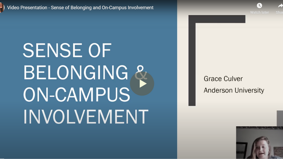 Sense of Belonging and On-Campus Involvement