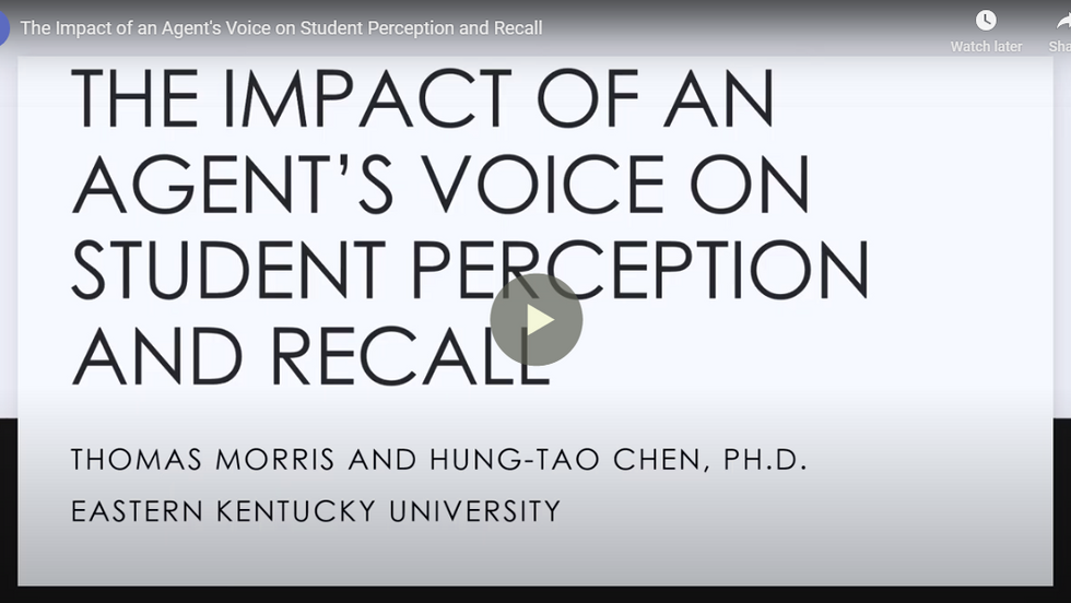 The Impact of an Agent's Voice on Student Perception and Recall