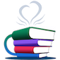 Logo for Librista app: stacked books look like a stylized coffee cup, complete with heart-shaped steam