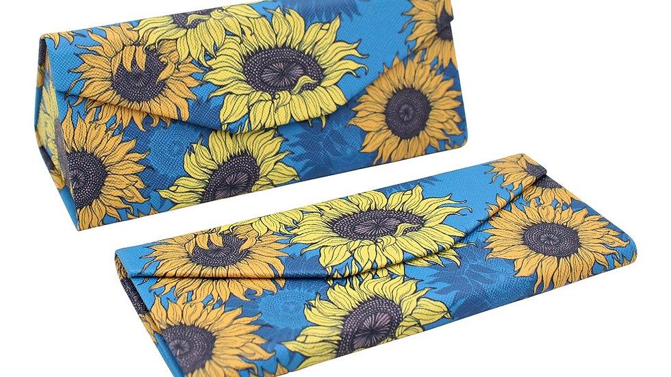 Hard Magnetic Folding PU Leather Glasses Case - Sunflowers