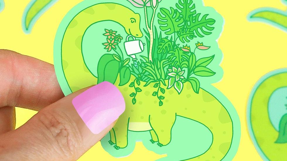 Dinosaur Planter Vinyl Sticker