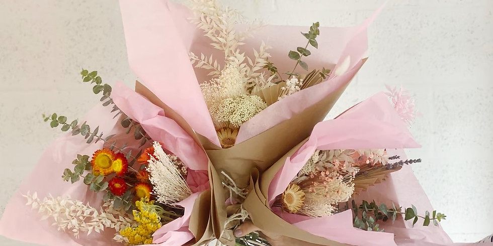 Rosé and Dried Flower Bouquet Making