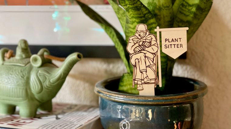 Bernie Sanders Plant Sitter Stake | Plant Décor