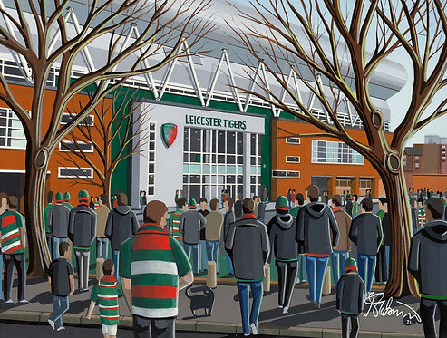 Leicester Tigers, Welford Road  Stadium. Framed High Quality Art Print