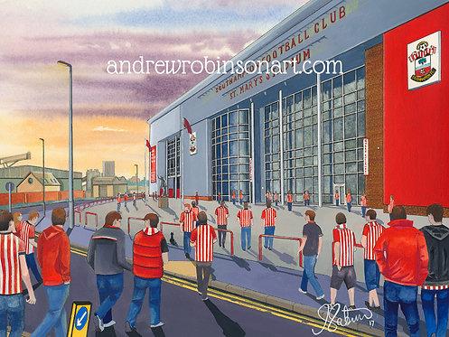 Southampton F.C, St. Mary's Stadium High Quality Framed Giclee Art Print