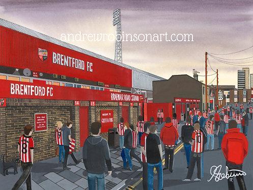 Brentford F.C, Griffin Park Stadium High Quality Framed Giclee Art Print