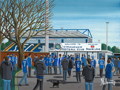 Stranraer F.C Stair Park Stadium Stadium Framed High Quality Art