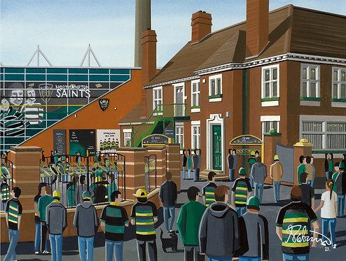 Northampton Saints, Franklins Gardens Stadium. Framed High Quality Art Print