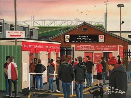 """Converging Cardinals"". Woking Town F.C Kingfield Stadium."