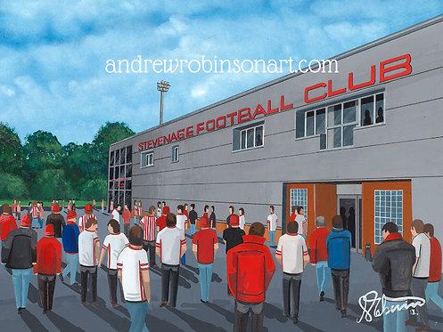 Stevenage FC Broadhall Way Stadium High Quality Framed Artists Proof Print
