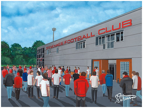 Stevenage FC Broadhall Way Stadium High Quality Framed Artists Proof Print
