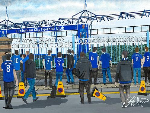 Birmingham City F.C, St. Andrew's Stadium High Quality Framed Giclee Art Print