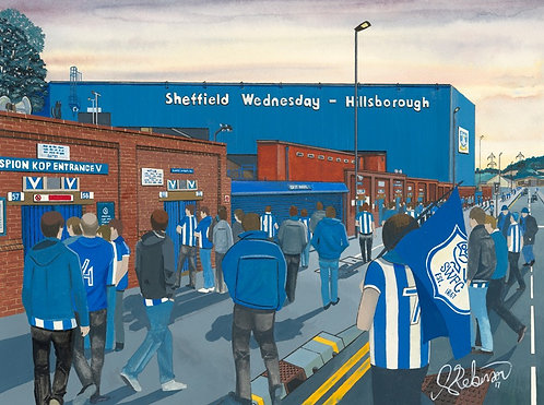Sheffield Wednesday F.C, Hillsborough Stadium High Quality Framed Art Print